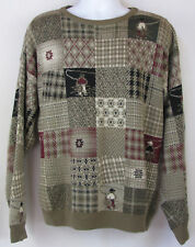 ORVIS Fly Fishing Angler Brown Cotton Checks Crewneck Knit Sweater, Mens Large