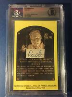 Babe Ruth Authentic Signed Cut Handwriting HOF Plaque Post Card Beckett COA Auto