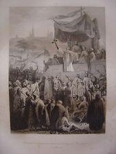 Grande gravure Prédication de la 2ème Croisade à VEZELAY en Bourgogne  Mars 1146