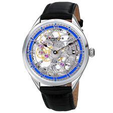 New Men's Akribos XXIV AK802BU Vibrant Mechanical Skeletal Black Leather Watch