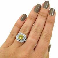 5ct Cushion Cut Yellow Sapphire Dual Halo Engagement Ring 14k White Gold Finish