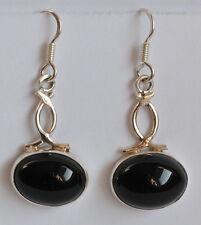 925 Sterlingsilber Ohrringe mit schwarzen Onyx Edelsteinen, ovale Cabochons
