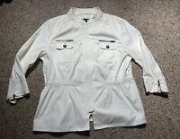 Chicos Black Label Peplum Utility Zip Jacket WHITE RUFFLE Size 2 $159