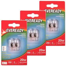 6 x EVEREADY G4 20W Halogen Capsule Bulb CLEAR 280 Lumens 12V Lamp