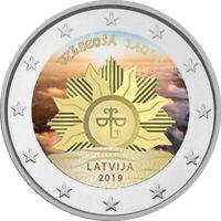 2 Euro Gedenkmünze Lettland 2019 coloriert Farbe / Farbmünze  Aufgehende Sonne