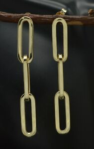 14k Yellow Solid Gold 3 Link Paper clip Drop polished 1.75'' Earrings