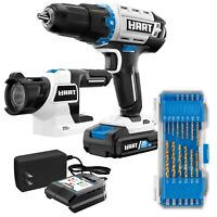 14Pc 20-Volt Cordless 1/2-inch Drill and LED Light Kit 1.5Ah Lithium-Ion Battery