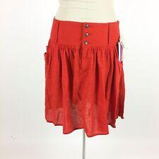 Vintage 1990s Orange Skirt Sz 14 Pleated 100% Cotton Texture Pockets NWT NOS