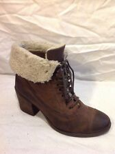 Office Brown Ankle Leather Boots Size 39