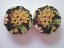 2 x 30mm Natural Wooden Buttons Flower Sewing or Scrapbooking No1031