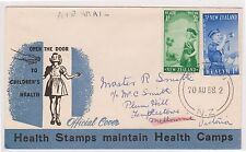 (OW-55) 1958 NZ FDC air mail 2set stamps health used (C)