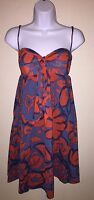 HD in Paris Dress Anthropologie Sz 2 Tied Campanula Red Blue Floral Sweetheart