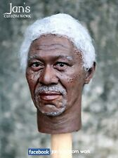 1/6 CUSTOM REPAINT REHAIR Morgan Freeman figure head hot toys DX batman phicen
