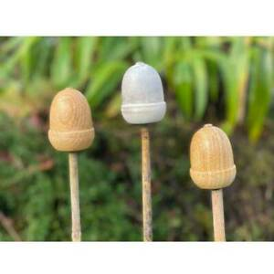 Acorn Cane Toppers by Apples to Pears - Mango Wood - Set of 3.  Gardener's Gift