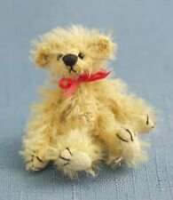 """Deb Canham """"Teeny Weeny"""" Golden Brown Mohair 2"""" Jointed Teddy With Red Bow"""""""