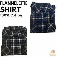 Men's Button Up PLUS SIZE FLANNELETTE SHIRT Check 100% COTTON Flannel Big & Tall