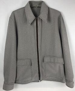 Vintage The Northwest Mens Jacket Large Houndstooth Plaid Brown Tan Full Zip