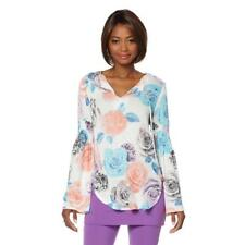 Lisa Kline Womens Long Sleeve Lola Loose Pullover Knit Top Floral X-Large Sz HSN