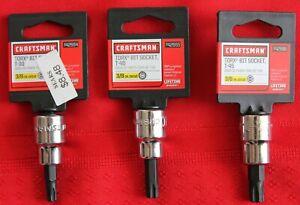 """Craftsman Torx Bit Socket T30, T40, T45 with 3/8"""" Drive,  #42664, 42665 & 42666"""