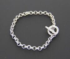 Bracelet Silver Alloy Metal Rolo Chain Toggle Clasp Charm Bracelet Unisex NEW