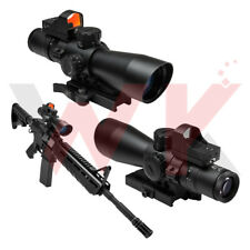 Tactical 3-9X42 Mil-Dot Illuminated Reticle Micro Red Dot Rifle Scope BDC 2 MOA