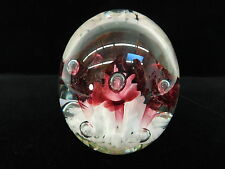ART GLASS PAPERWEIGHT JOE RICE CONTROLLED BUBBLE RED TRUMPET FLOWER 1997