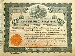Adams & McKee Trading Company > 1929 California stock certificate