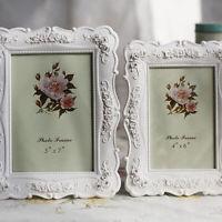 White Retro Vintage Rose Flower Photo Frame Picture Frame Resin Home Decor