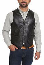 Mens Real Leather Black Waistcoat Gents yelek Petrelli traditional classic NEW