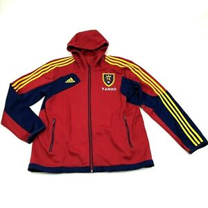 Adidas Real Salt Lake Track Jacket Red Blue Full Zip Hoodie Size M Medium XANGO