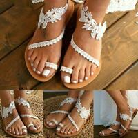Summer Women Flat Sandals Sweet Color Lace Open Toe Party Wedding Z8B6