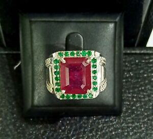 925 Sterling Silver Natural Green Emerald & Ruby Octagon Men Ring 7 - 15/20