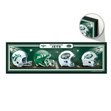 """NEW YORK JETS HELMET DESIGN THROUGHOUT THE YEARS WOOD SIGN 9""""x30"""" NEW WINCRAFT"""
