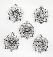 """5 connecteurs pendentif 3 rangs """"attrape rêve"""" en métal argenté vieilli-co056"""