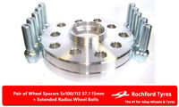 Wheel Spacers 15mm (2) Spacer Kit 5x112 57.1 +OE Bolts For Audi A3 [8V] 12-17