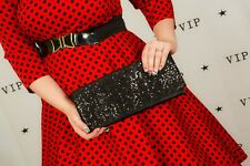 Black sequin clutch bag evening bag by Chiang Mai - Wedding prom races