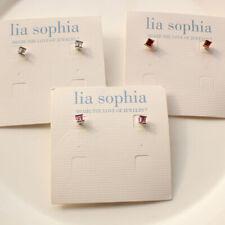 New Lia Sophia Crystal Small Stud Earrings Fashion Women Jewelry 3Colors Chosen