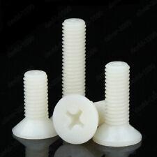 M2 M2.5 M3 M4 M5 M6 M8 White Plastic Nylon Phillips Cross Flat Head Screws