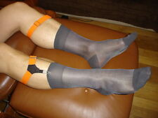 Lote 6 calcetines nailon transparente puro cho7 gris lisa Ref V01 T-39/42