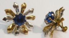 boucles d'oreilles pas de vis bijou vintage fleur relief cristal saphir * 2514