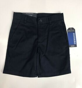 NEW Nautica Boys Navy School Uniform Shorts Size 4 Adjustable Waist
