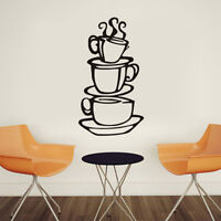1Pc Removable Coffee House Cup Vinyl Wall Art Metal Mug Wall Sticker Decals DIY