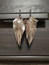 Handmade GENUINE Leather Feather Earrings Metallic Gun Metal