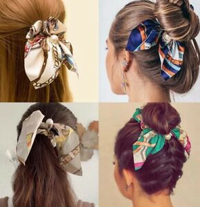 New Chiffon Bowknot Elastic Hair Bands For Women Girls Solid Color Hair Ties