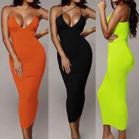 Summer New Dress Women Sexy Solid Deep V Strap Sleeveless Slim Party Maxi Skirt