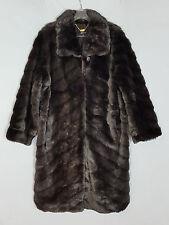DENNIS BASSO Diagonal Pelted Faux Mink Fur Coat w/Hook Closures size 2X
