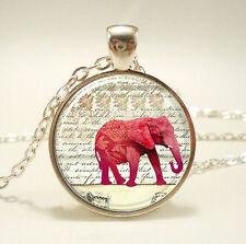 Vintage Elephant Cabochon Tibetan silver Glass Chain Pendant Necklace jewelry