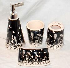 4pc Butterfly Bathroom Set Black & White Soap Dispenser & Dish Toothbrush Holder