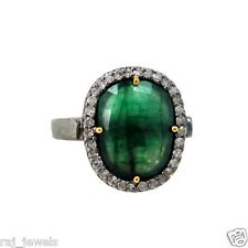 Gemstone Emerald Ring 925 Silver Pave Diamond 14k Gold Vintage Look Jewelry Oy