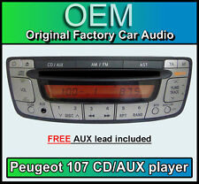 Peugeot 107 CD Player radio, Peugeot Car stereo radio with AUX in, FREE AUX Lead